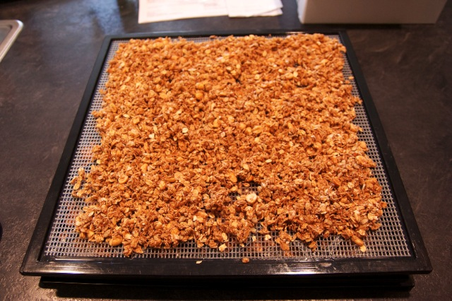 Granola on Dehydrator Tray