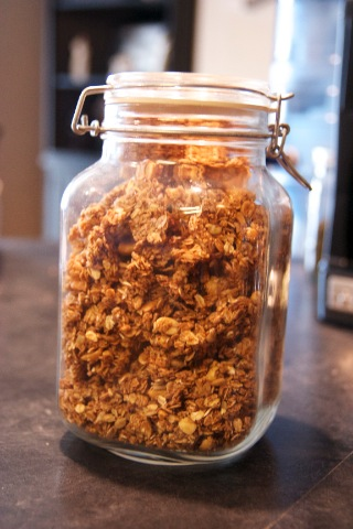 Granola in Glass Storage Jar