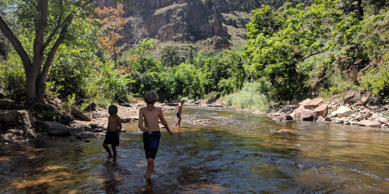Kids Wading and Splashing in North St. Vrain Creek