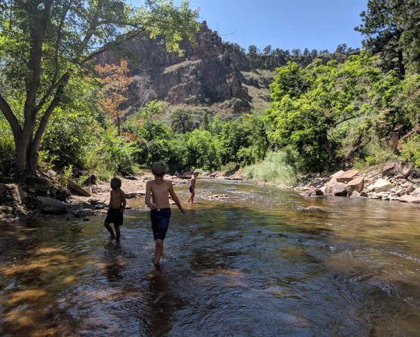 Kids Wading and Splashing in North St. Vrain Creek